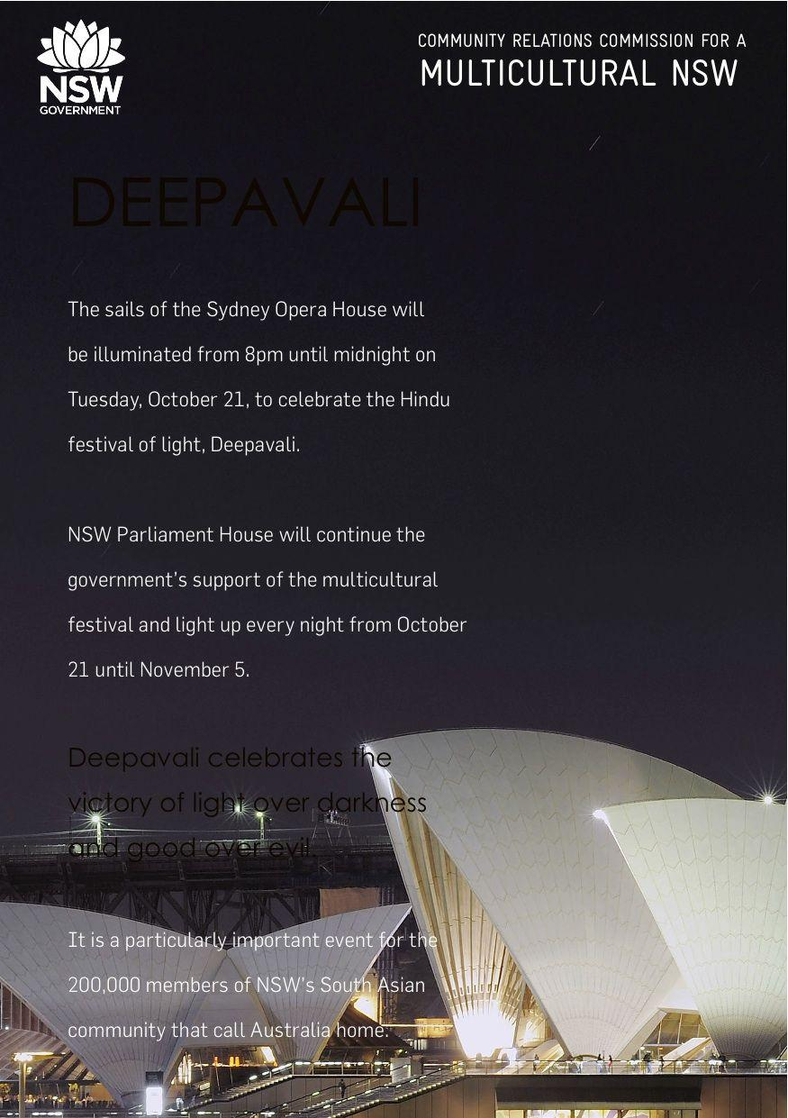 Sails of the Opera House to light up for Diwali