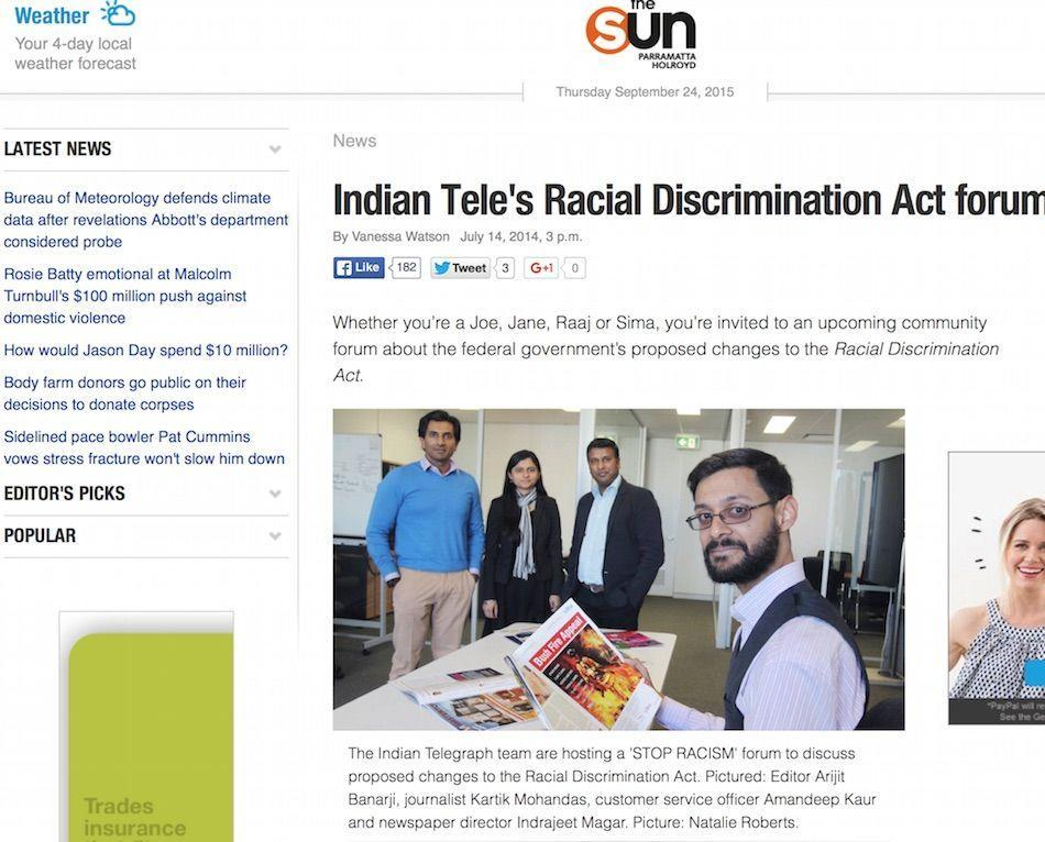 The Indian Telegraph's Forum on Racial Discrimination Act