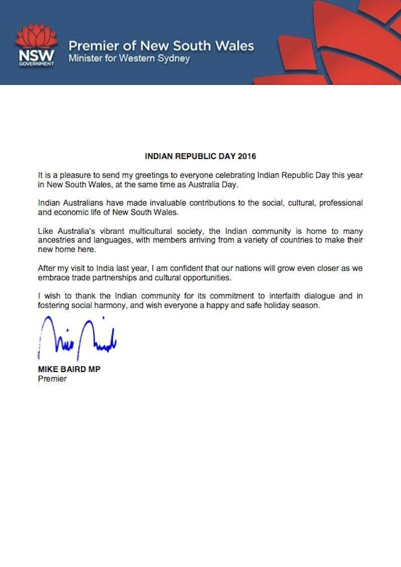 NSW Premier Mike Baird for Republic Day.
