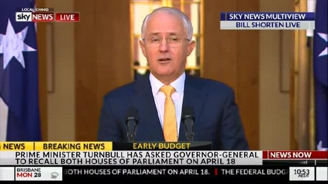 Prime Minister Malcolm Turnbull intends to call election if legislation is not passed