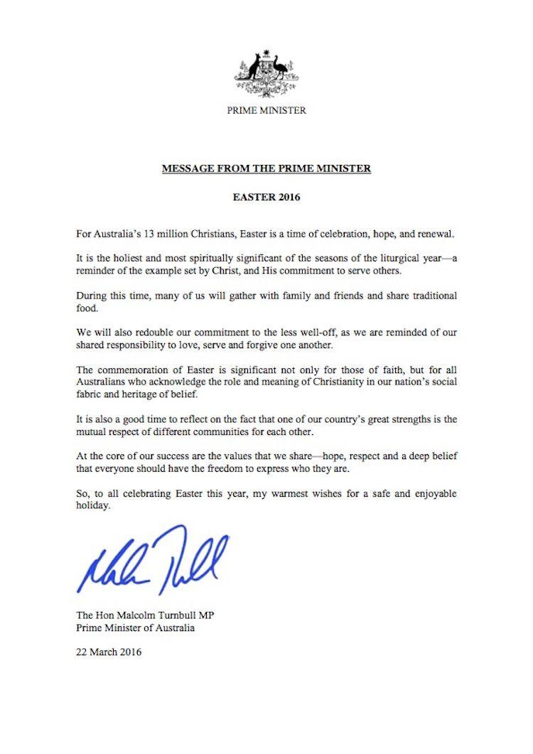 Message from the Prime Minister, The Hon. Malcolm Turnbull for Easter 2016