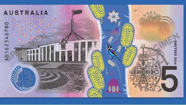And from the back: Our new fiver. Picture: Reserve Bank Australia