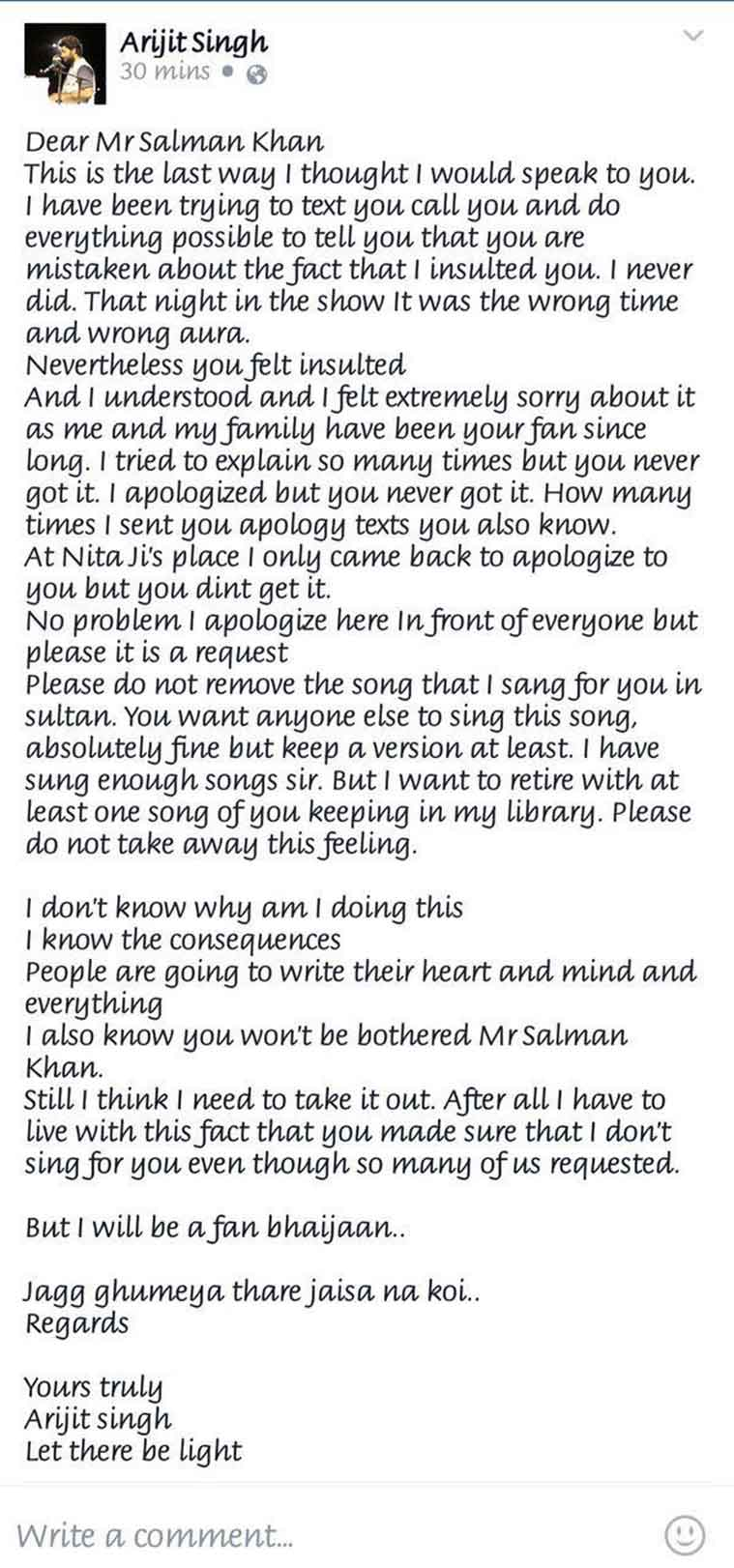 Arijit Singh posts public apology to 'Sultan' Salman Khan, pleading to retain his song; deletes itlater