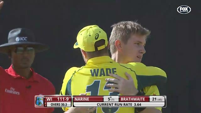 West Indies v Australia: coverage of one-day tri-series match in Guyana