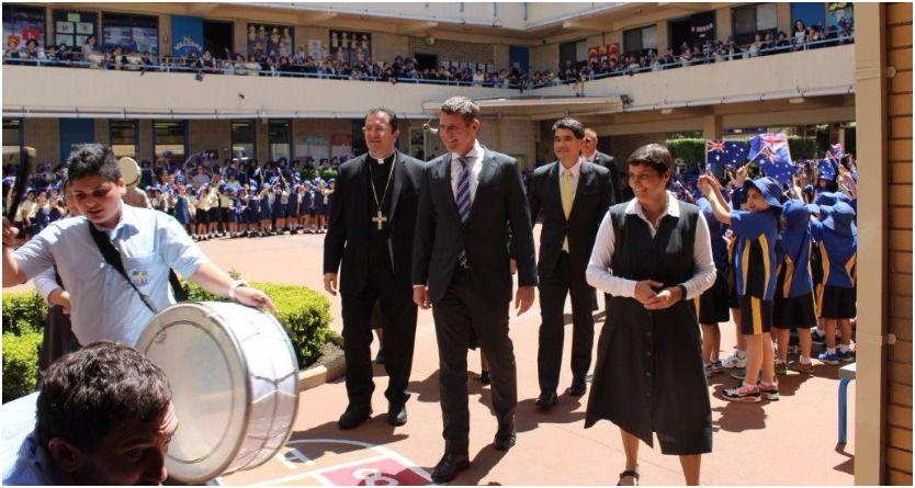 Students playing Lebanese drums at the Maronite College of the Holy Family at Harris Park