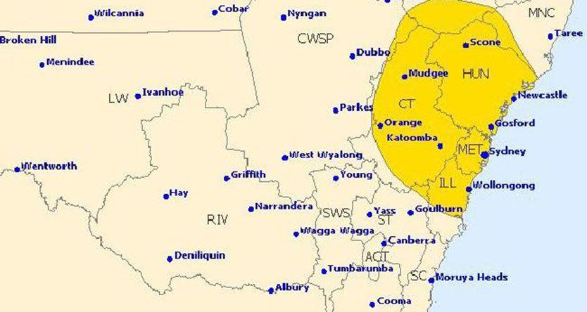 Severe thunderstorm warning issued for Sydney and Newcastle