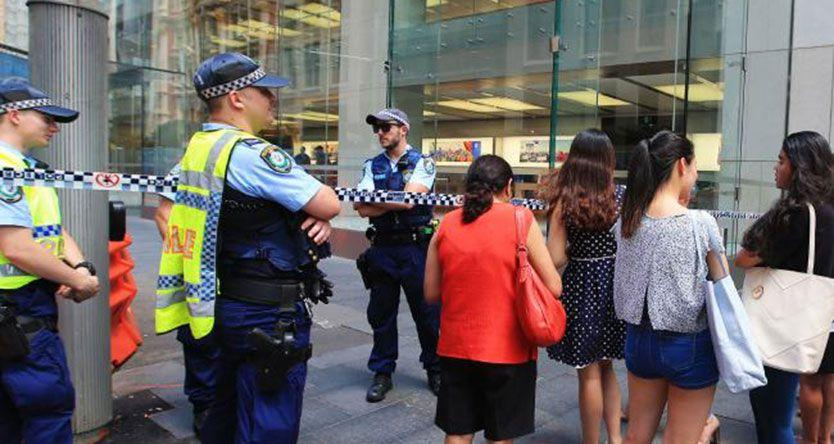 Police operation at Apple Store on George Street in Sydney