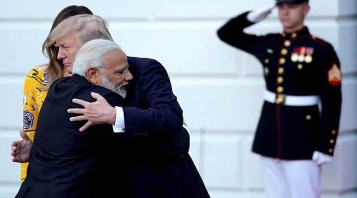 India's Prime Minister Narendra Modi hugs U.S. President Donald Trump as he departures the White House after a visit, in Washington, U.S., June 26, 2017. REUTERS/Carlos Barria