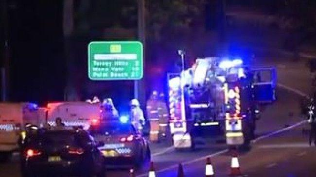 Emergency services attend the scene of the crash at Terrey Hills early this morning. Picture: Ch 7Source:Channel 7