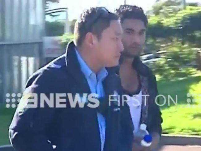Screen grabs from Channel 9 show the driver being taken from Mona Vale Hospital. Picture: Channel 9.Source:Channel 9