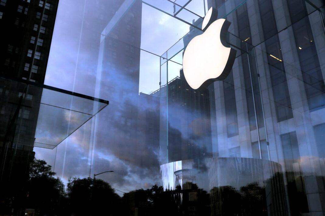The Apple Inc. logo is seen hanging at the entrance to the Apple store on 5th Avenue in Manhattan, New York, U.S., October 16, 2019
