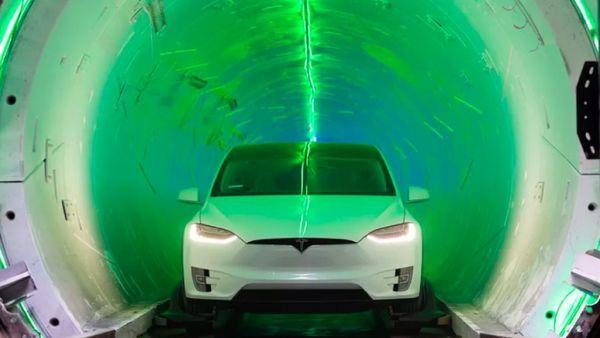 A Tesla Model X inside the Boring Company's demonstration tunnel in Los Angeles