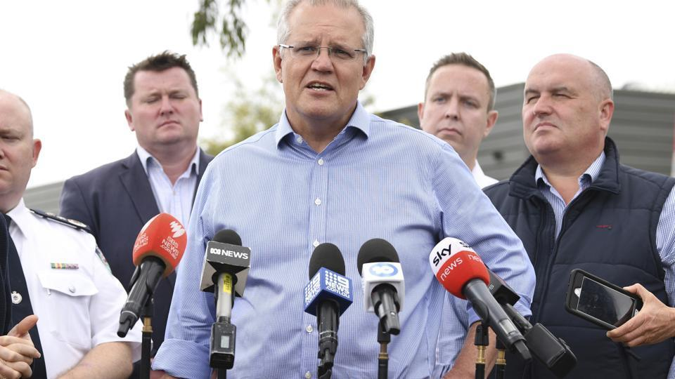 Australia's Prime Minister Scott Morrison speaks to the media during a visit to the Wollondilly Emergency Control Centre in Sydney