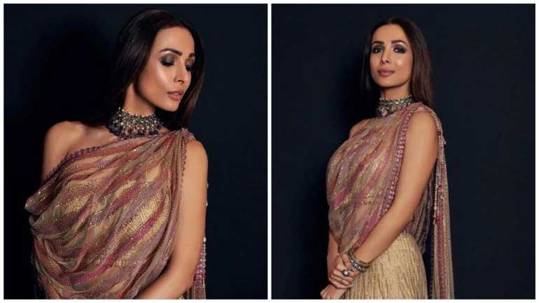 Malaika Arora in regal lehenga shows how to wear dupatta without having to manage one