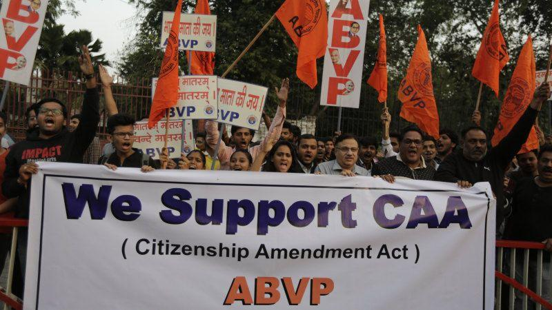 Supporters of ABVP, a right-wing student organisation affiliated with the Hindu nationalist RSS march in support of the new citizenship law in Ahmadabad.
