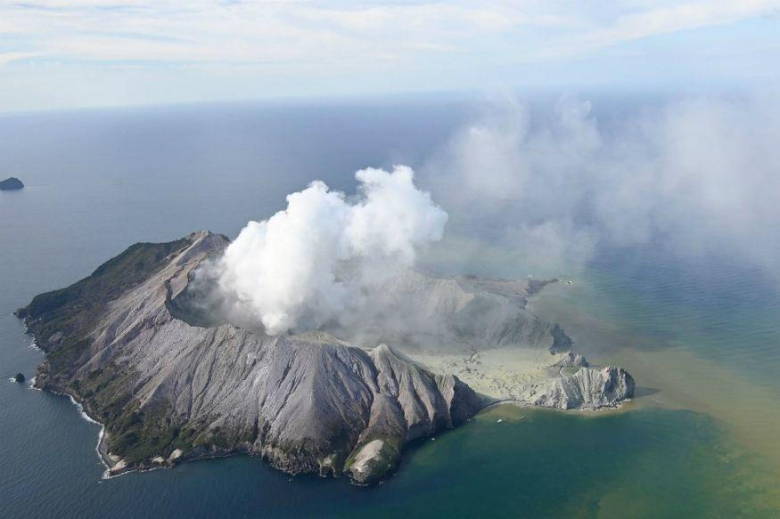 This aerial photo shows White Island after its volcanic eruption in New Zealand on December 9, 2019