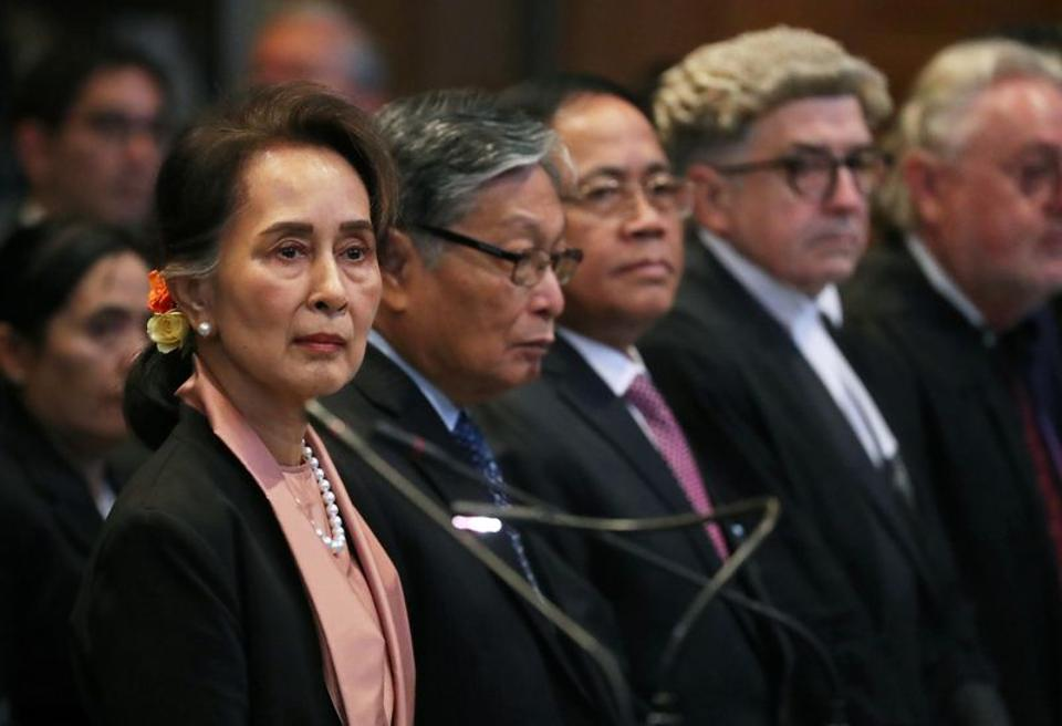 Myanmar's leader Aung San Suu Kyi attends a hearing in a case filed by Gambia against Myanmar alleging genocide against the minority Muslim Rohingya population, at the International Court of Justice (ICJ) in The Hague, Netherlands December 10, 2019. (REUTERS)