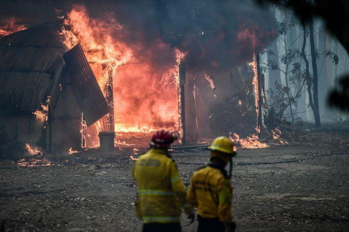 A fire burning at Monastery in Penrose, NSW, on January 10
