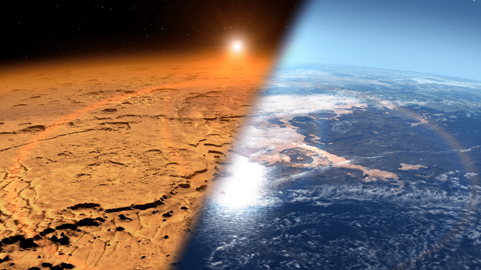 Artist rendition depicting the early Martian environment (right) versus the Mars we see today (left)