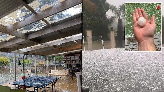 Huge hailstones have started smashing parts of Victoria as the state experiences its wettest two-day period in months