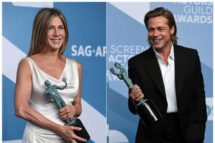 Jennifer Aniston and Brad Pitt each won their first individual SAG Awards and hugged each other