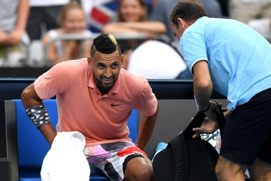 Nick Kyrgios has a medical timeout at the Australian Open