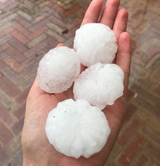 Residents were thrashed with golf ball-sized hail