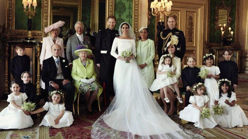 The Duke and Duchess of Sussex and family during happier times following their 2018 wedding