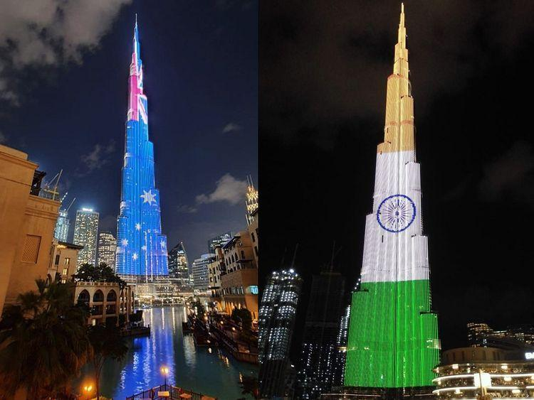 Australian and Indian colours were displayed on the giant LED screen that covers Burj Khalifa on Sunday, to mark the Australian Day and the Indian Republic Day
