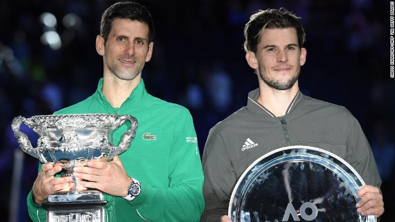 Djokovic (left) defeated Thiem in five sets having trailed 2-1 to the Austrian in the final