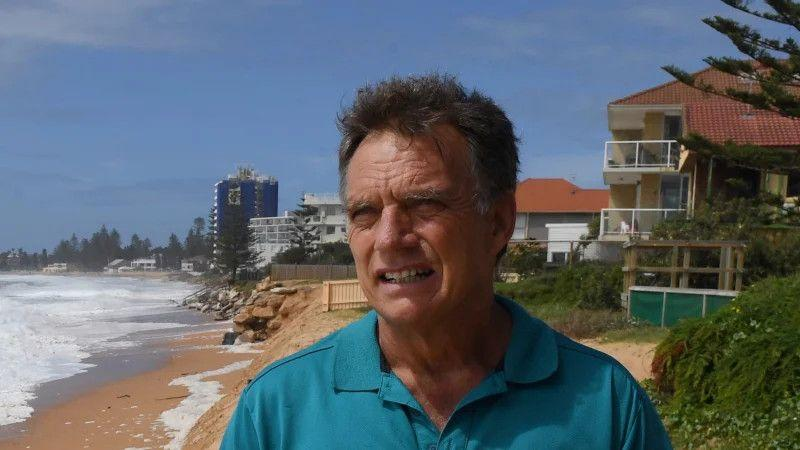 Gary Silk along the Narrabeen-Collaroy coastline which has suffered serious erosion again after storm surges