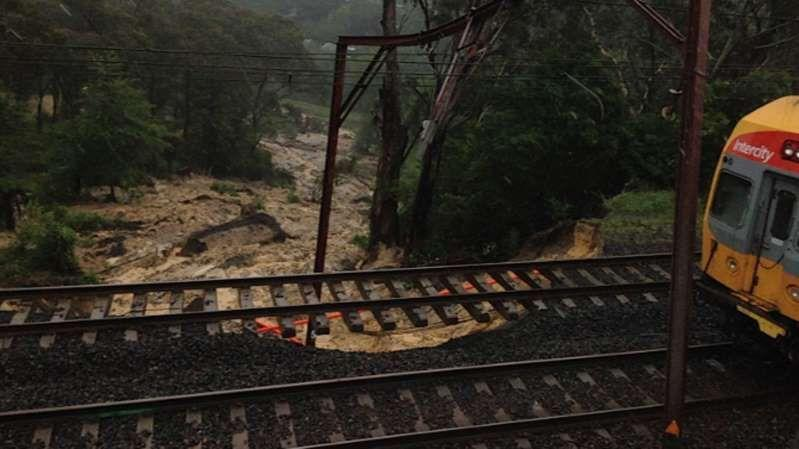 Major landslips at Leura and Mount Victoria in the Blue Mountains have also partially closed that line