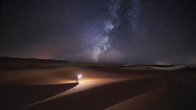 Stargazing in the desert dunes