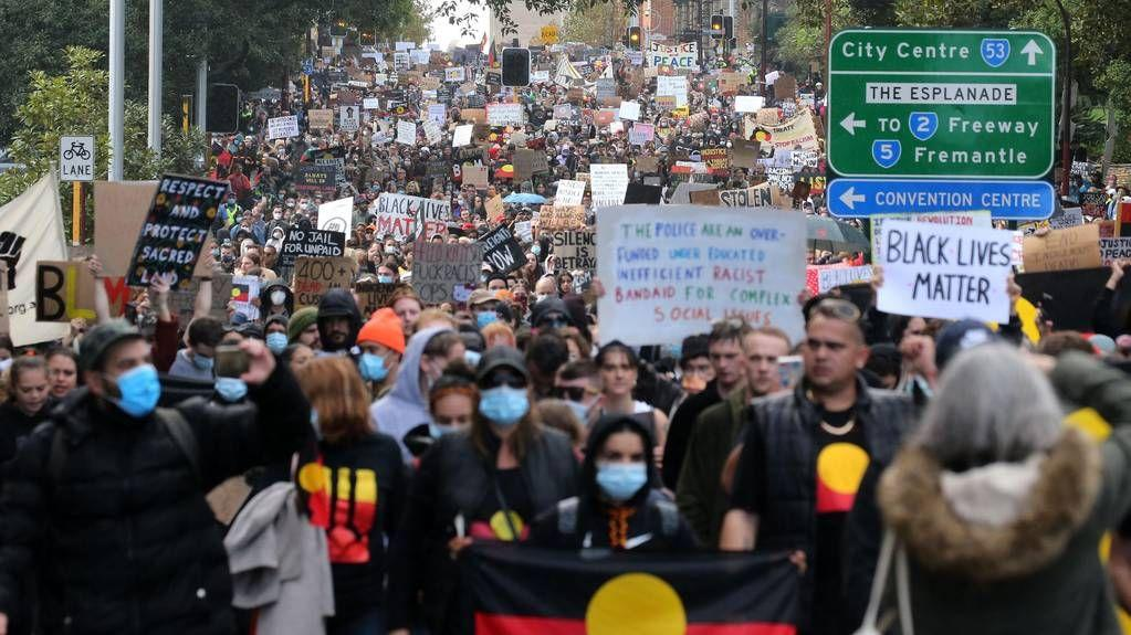 Black Lives Matter: Thousands walk through Perth CBD in historic BLM protest after Langley Park rally