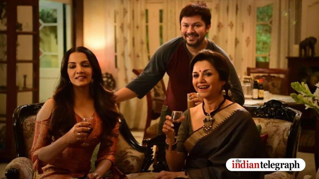 Romita (Celina Jaitly Haag) and Suchitra (Lillete Dubey) and Ram Kamal Mukherjee on Seasons Greetings