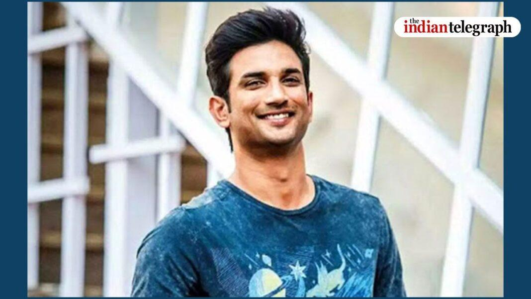 Sushant can be seen wearing a black T-shirt which bears the International Space University (ISU) logo.
