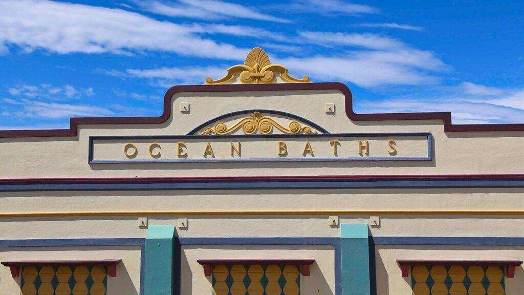 The historic facade of Newcastle Ocean Baths, Newcastlea