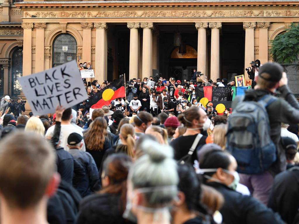 Protesters gather for a Black Lives Matter rally in Sydney today