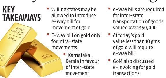 GoM favours e-way bill for intra-state gold movement, discusses e-invoicing