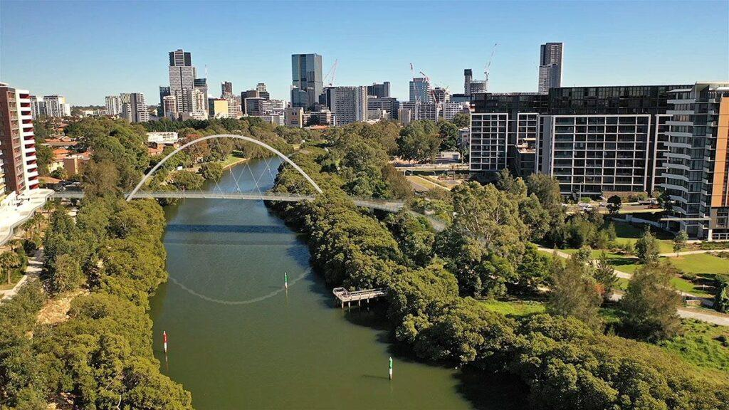 Parramatta-River-Pedestrian-&-Cycle-Bridge-2020---Updated-VIEW---Montage-Looking-West-from-Drone(2)