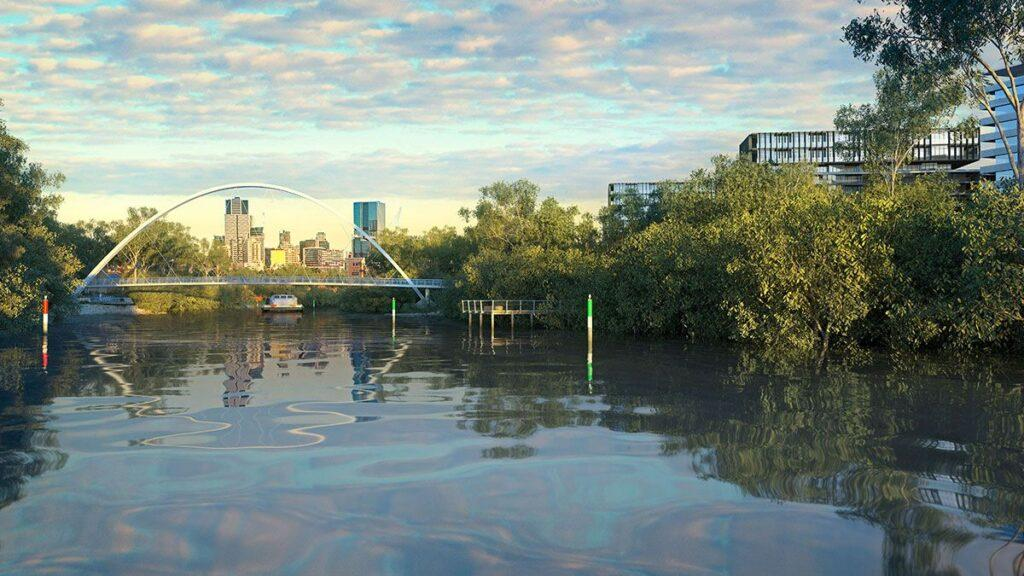 Parramatta-River-Pedestrian-&-Cycle-Bridge-2020---Updated-VIEW---Render-Looking-West-from-River