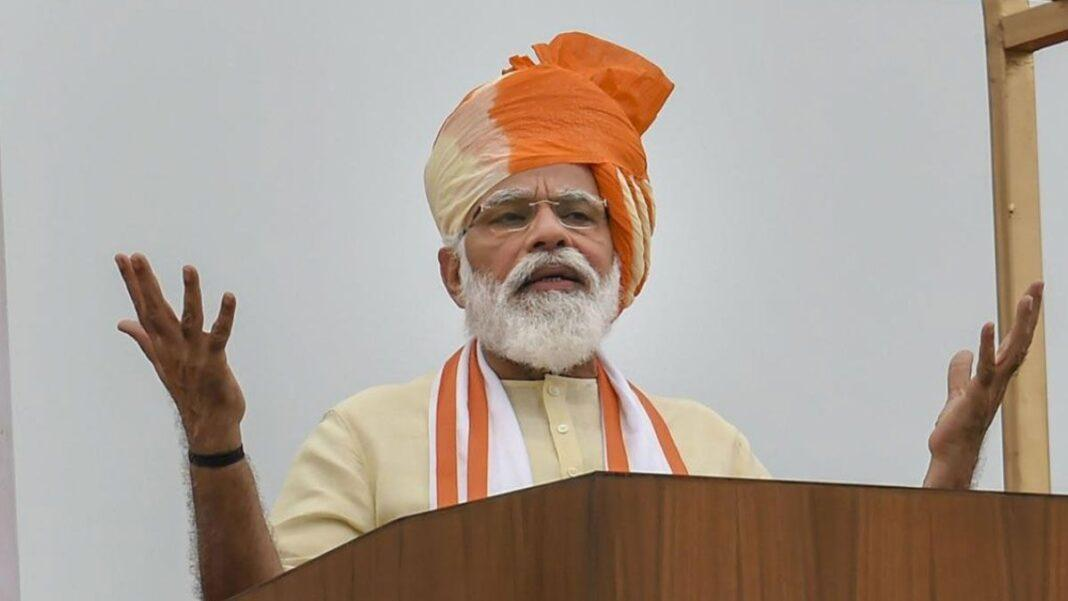 Prime Minister Narendra Modi during his address to the nation from the ramparts of Red Fort on the occasion of the 74thIndependence Day