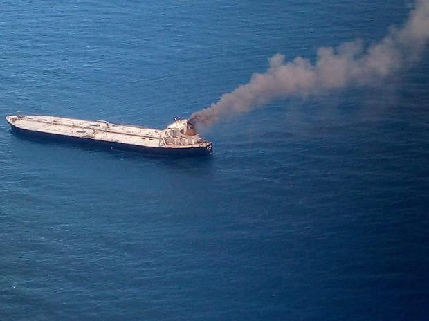 Tanker loaded with 2 million barrels of oil catches fire off Sri Lanka