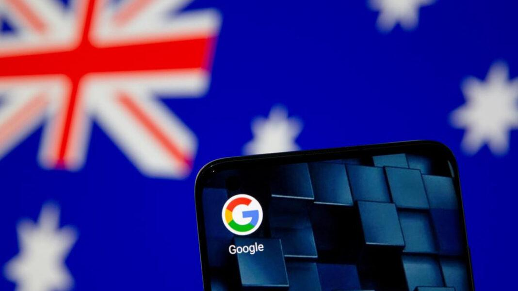 A smartphone with a Gogle App Icon in front of Australia Flag