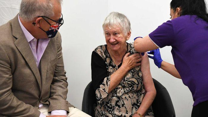 Aged care resident Jane Malysiak, 84, from Marayong New South Wales, was the first person in Australia to receive a COVID-19 vaccine.