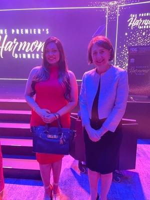 Saroni at Premier's Harmony Dinner with NSW Premier Gladys Berejiklian MP