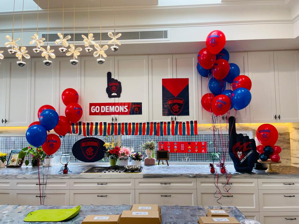 Demons (Melbourne Team) and decorated the kitchen in Blue & Red Demons colours